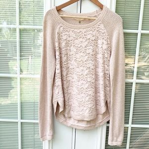 Anthropologie Knitted and Knotted Laceveil Sweater